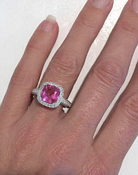 3 carat Cushion Cut Bright Pink Sapphire and Diamond Ring in 14k