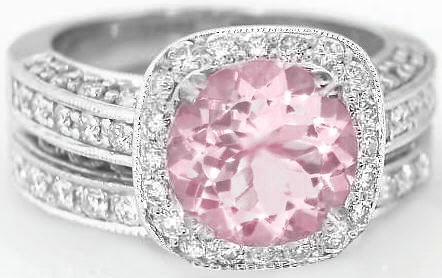antique nl gold sapphire cut in rg ring rose jewelry with round pink halo engagement rings diamond