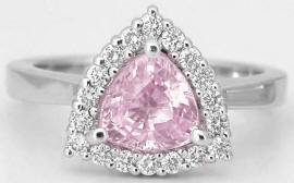 Trillion Light Pink Sapphire and Diamond Ring in 14k white gold
