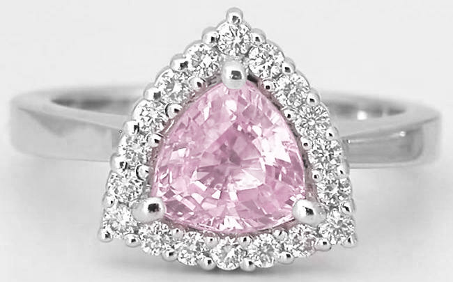 Trillion Pink Sapphire Ring With Diamond Halo With A High