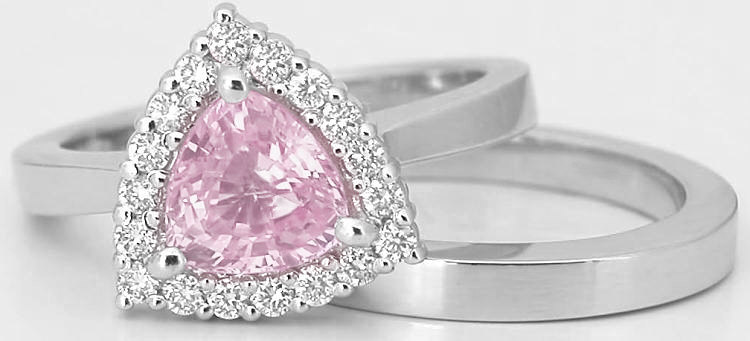 Trillion Light Pink Sapphire Engagement Ring with Matching Wedding Band in 14