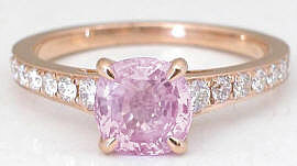 1.81ctw Cushion Cut Pink Sapphire Diamond Ring in 18k Rose Gold