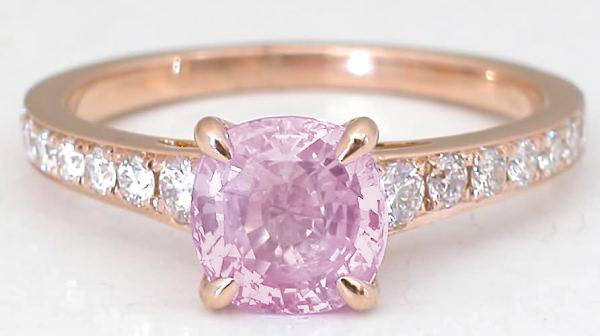 Rose Gold Pink Sapphire Rings with Cushion Cut Gemstone GR 5994