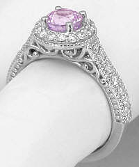 Filigree Detailed Light Pink Sapphire Diamond Halo Ring in 14k