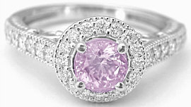 Round Light Pink Sapphire Diamond Halo Engagement Ring in 14k gold