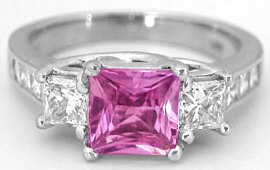 Princess Cut Pink Sapphire and Diamond Ring in 14k white gold
