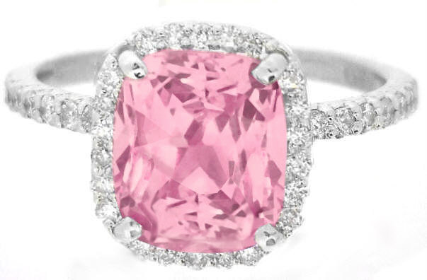 3 84 Ctw Fine Quality Peachy Pink Sapphire And Diamond Ring In 14k White Gold