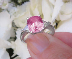Big Cushion Cut Natural Pink Sapphire Engagement Ring with Real Trillion Diamonds in solid Platinum