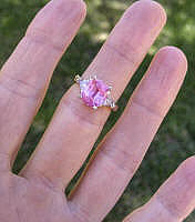 Real Platinum Large Ceylon Natural Pink Sapphire Engagement Ring with Real Trillion Diamonds for sale