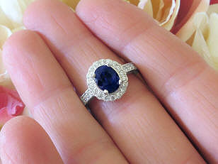 Ceylon Cornflower Navy Blue Natural Sapphire Ring with Real Diamonds in Genuine Platinum Mounting