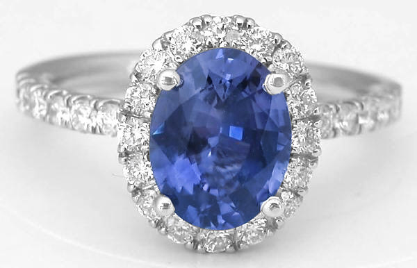 Rare Color Change Sapphire And Diamond Halo Ring In 14k