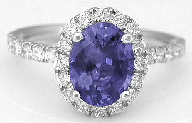 Color Change Purple Sapphire Engagement Ring in 14k white gold