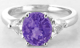 Unheated Purple Sapphire and Trillion White Sapphire Ring in 14k white gold