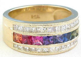 Princess Cut Rainbow Sapphire Diamond Band Rings