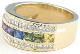 Princess Cut Rainbow Sapphire Princess Cut Diamond Band Rings