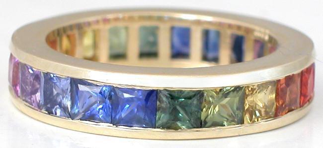 Channel Set Rainbow Sapphire Eternity Ring Gr 5951