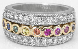 Rainbow Sapphire and Diamond Band Rings