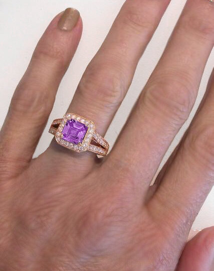 Square Cut Magenta Sapphire Rose Gold Engagement Ring GR 5908