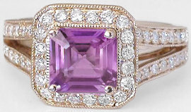 Purple Magenta Sapphire Diamond Ring in 14k rose gold