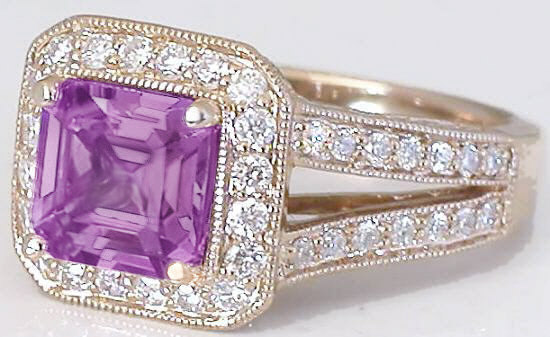 Square Cut Magenta Sapphire Rose Gold Engagement Ring Gr