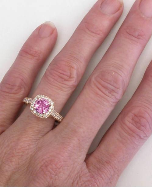 Pink Cushion Cut Diamond Engagement Ring