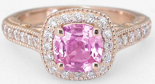 Pink Shire And Diamond Engagement Ring In 14k Rose Gold