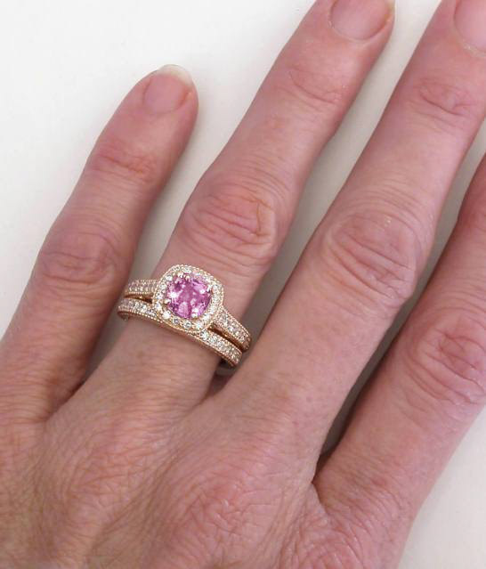 Rose Gold Cushion Cut Pink Sapphire and Diamond Halo ...