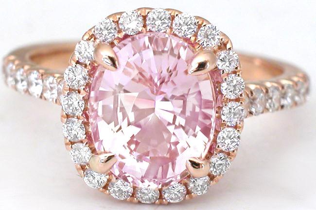 Light Pink Sapphire Diamond Ring in 18k rose gold GR5992
