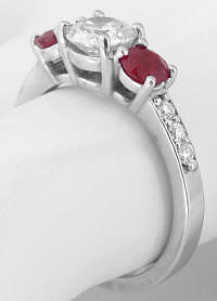 Unique Ruby Rings in White Gold