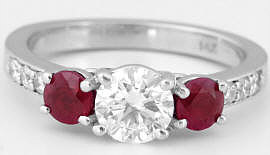 Round Diamond and Ruby Ring in 14k