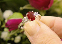 Natural Genuine Burmese Ruby and White Sapphire Engagement Ring in white gold for sale