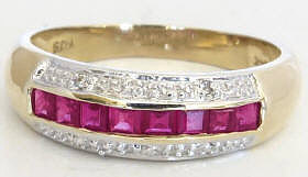 Channel Set Ruby Ring in 14k