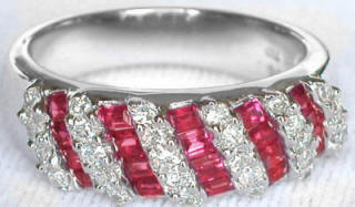 1.39 ctw Baguette Ruby and Diamond ring in 18k white gold