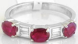 1.41 ctw Ruby and Baguette Diamond Ring in 14k white gold