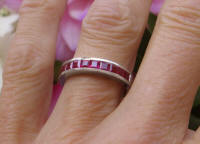 Princess Cut Natural Burmese Ruby Channel Set Band in 14k white gold
