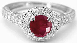 White Gold Ruby Promise Ring in 14k