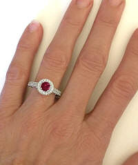 Round Ruby and Diamond Halo Rings in 14k White Gold