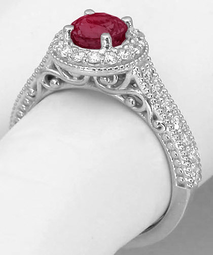 White Gold Ruby Engagement Ring In 14k With Round Ruby Gr 5486