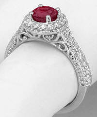 Vintage Ruby Promise Ring in 14k White Gold