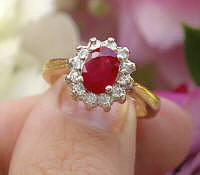 Natural Oval Ruby Ring with Real Diamond Halo in solid 14k yellow white gold for sale
