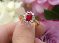 Genuine Oval Ruby Engagement Ring with Real Diamond Halo in solid 14k yellow white gold