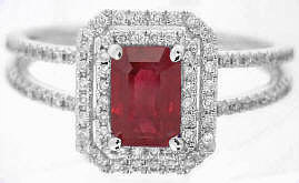 Ruby Ring White Gold with Diamonds