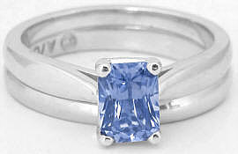 Radiant Sapphire Solitaire Engagement Ring in 14k white gold