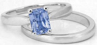 Ceylon Sapphire Solitaire Engagement Rings and Wedding Bands
