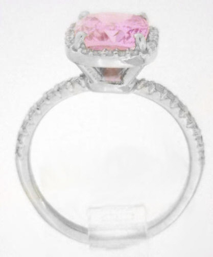 Light Pink Sapphire in a Cushion Cut Diamond Halo Engagement Ring in 14k whit