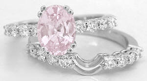 Light Pink Sapphire Engagement Ring and Wedding Band