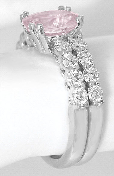 Natural Light Pink Sapphire Engagement Ring in 14k White Gold(GR-5911)