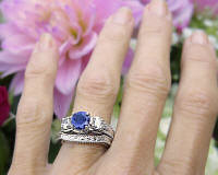 Natural Round Dark Blue Sapphire and White Sapphire Ring and Wedding Band Set in 18k white gold for sale