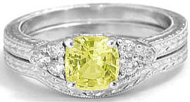 Yellow Sapphire and Diamond Engagement Ring in 14k white gold