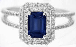 Emerald Cut Blue Sapphire Engagement Ring in 14k